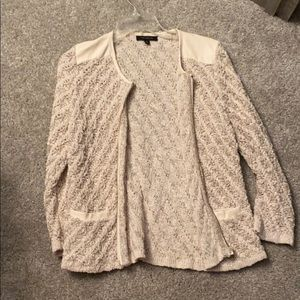Ann Taylor Knit jacket with leather accents
